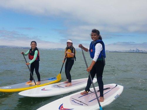 Kids on SUP boards having fun