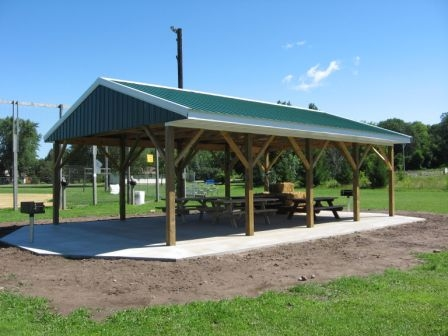 The pavilion provides picnic space and shelter during ball tournaments