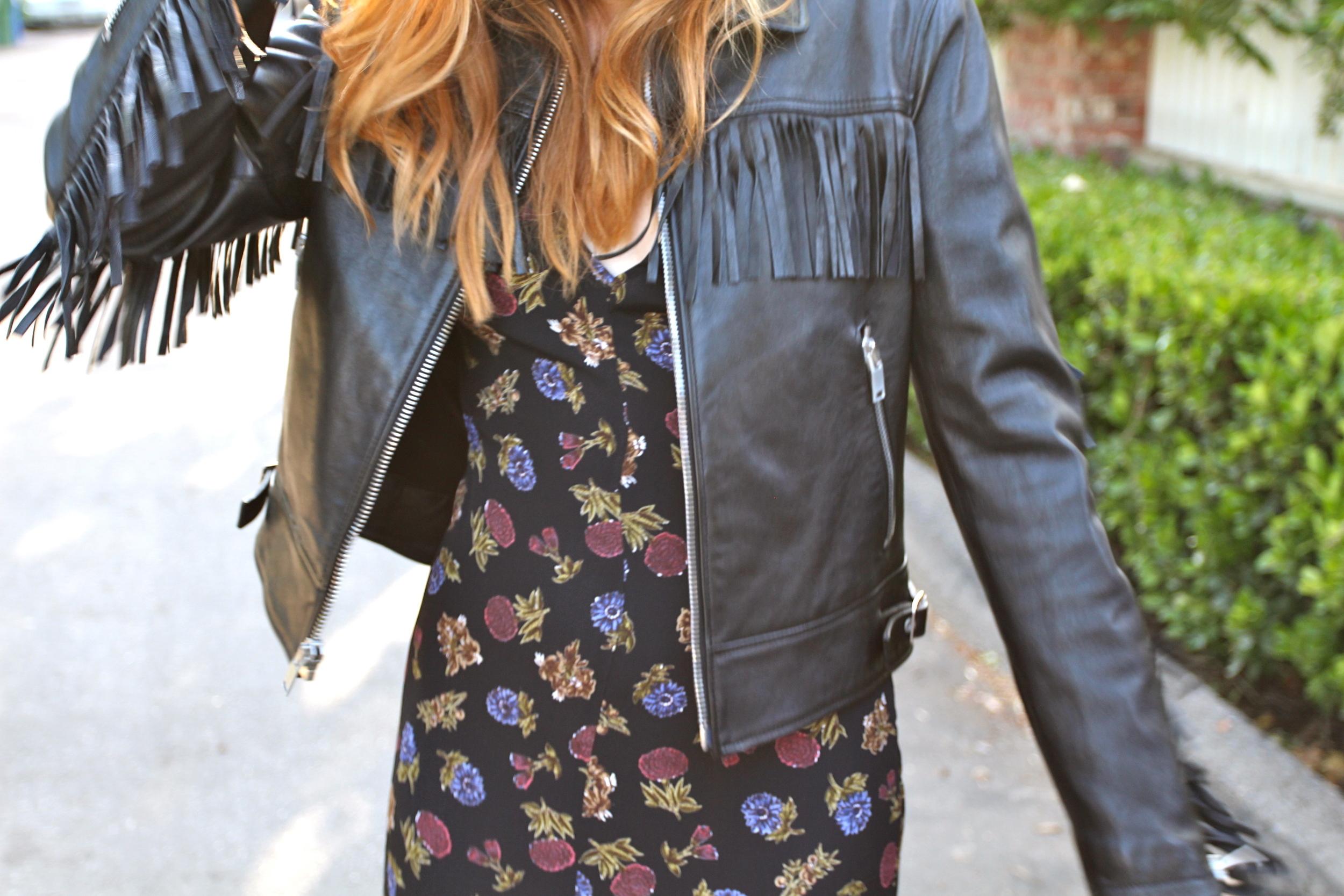 Dress - Reformation | Jacket -  Saint Laurent  | Boots -  Jeffrey Campbell  || photos by Sarah Hardcastle