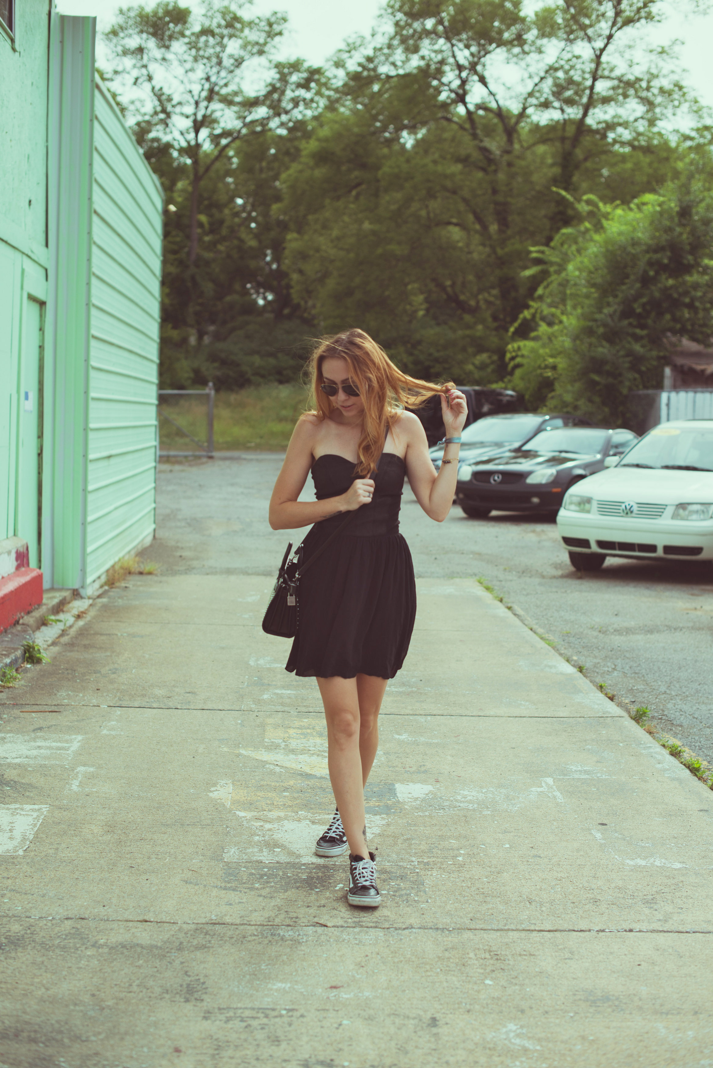 Dress - vintage  | Sneaks - Vans | Bag - Saint Laurent || photos by Blythe Thomas