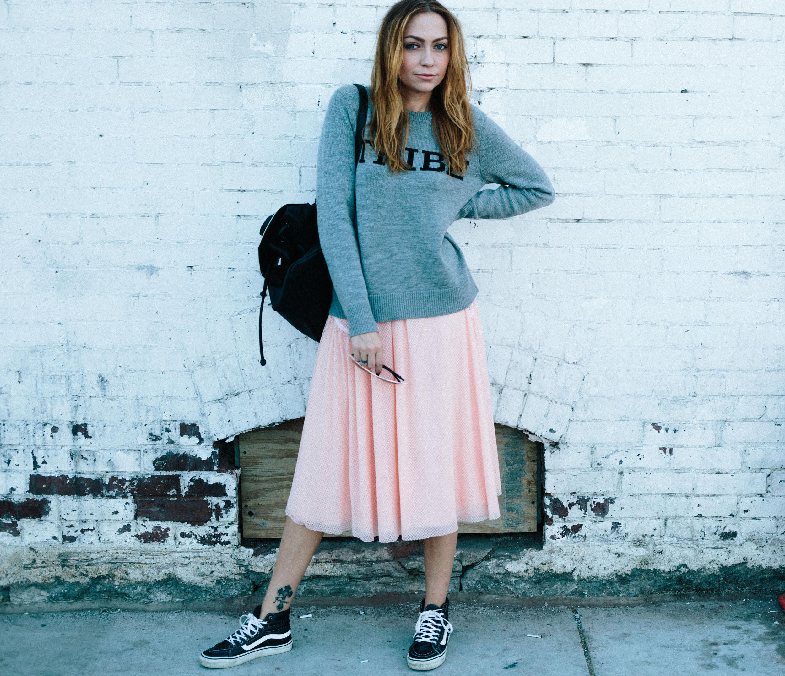 Top - A.L.C.  |  Skirt - Nastygal  |  Shoes - Vans  |  Sunnies - Quay Australia  |  Bag - Danielle Nicole  ||  photos by Susannah Brittany