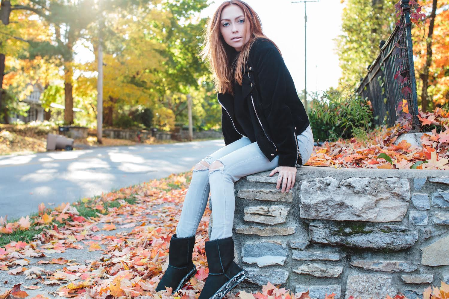 Jacket - Reformation | Jeans - American Eagle | Boots - Uggs and  Homage wraps  ||  photos by Susannah Brittany