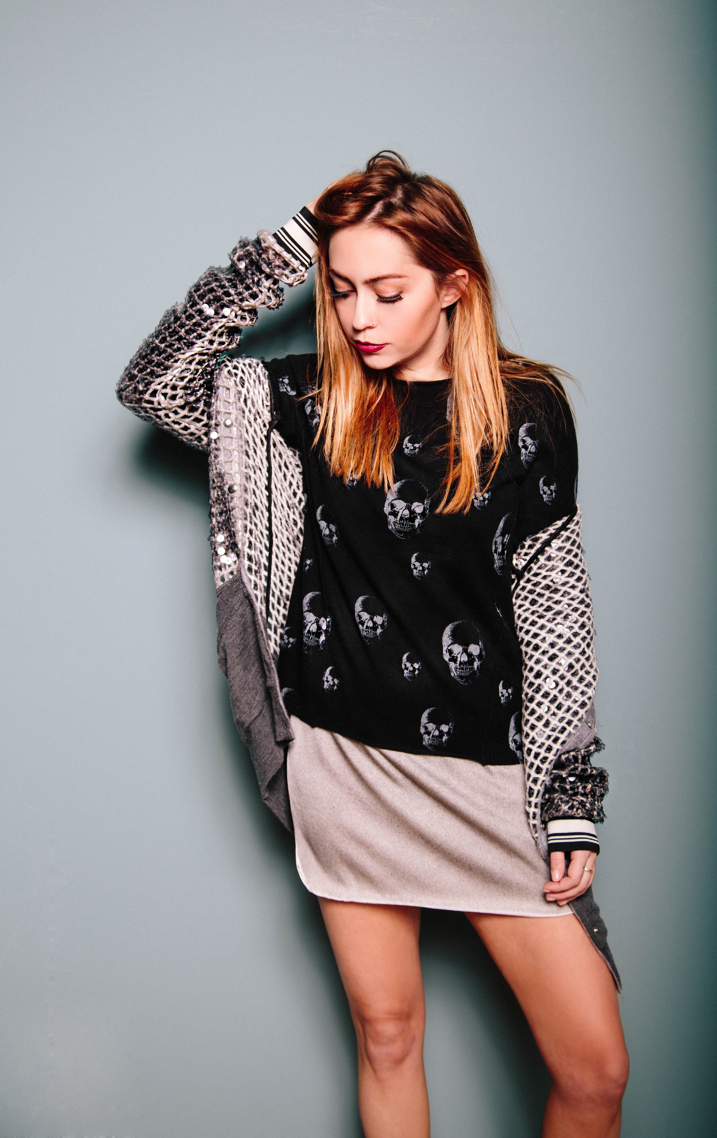 Sweater - Skull Cashmere | Jacket + Slipdress -Aviu|| photosby  Susannah Brittany