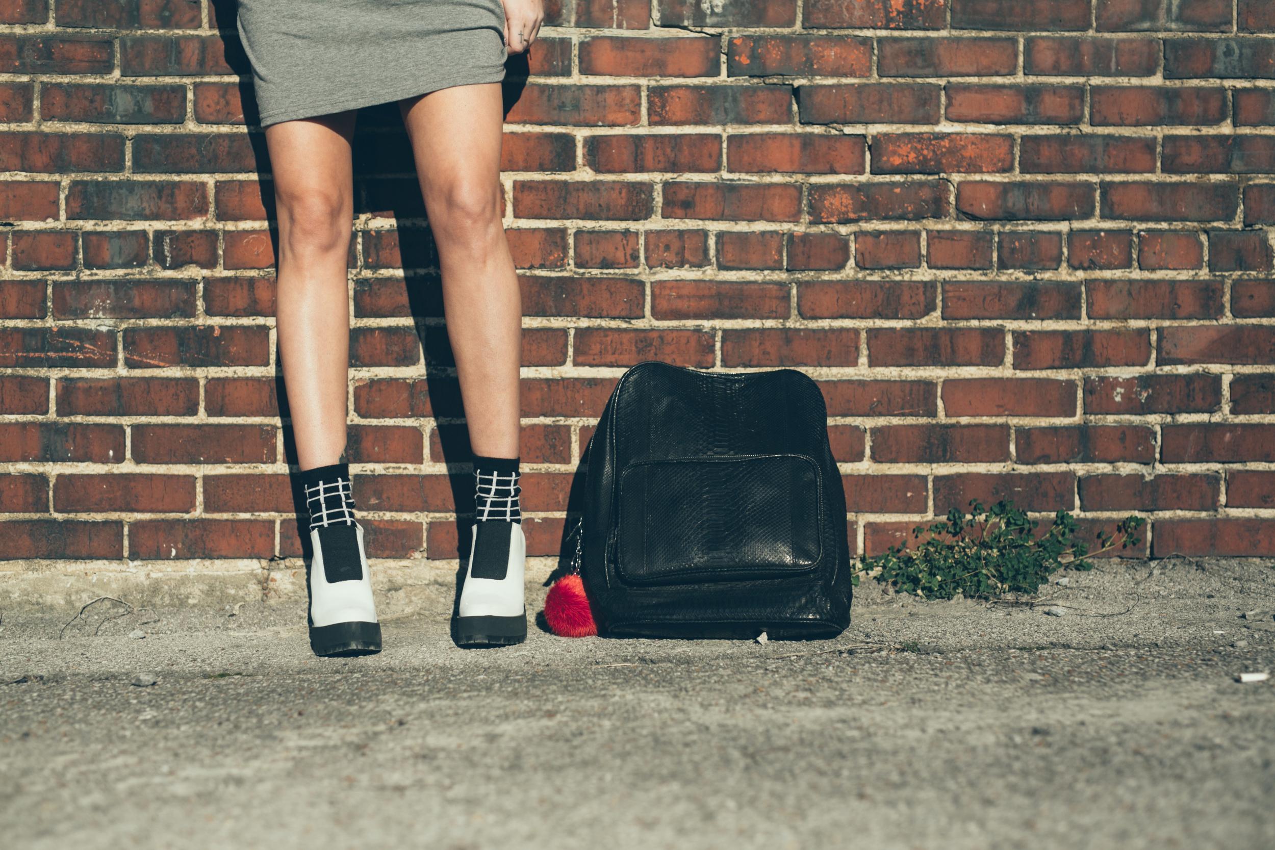 Dress -  Brandi Cyrus for Valley City  |  Jacket - Reformation  | Shoes - Miista | Bag - Gelareh Mizrahi | Socks - TopShop