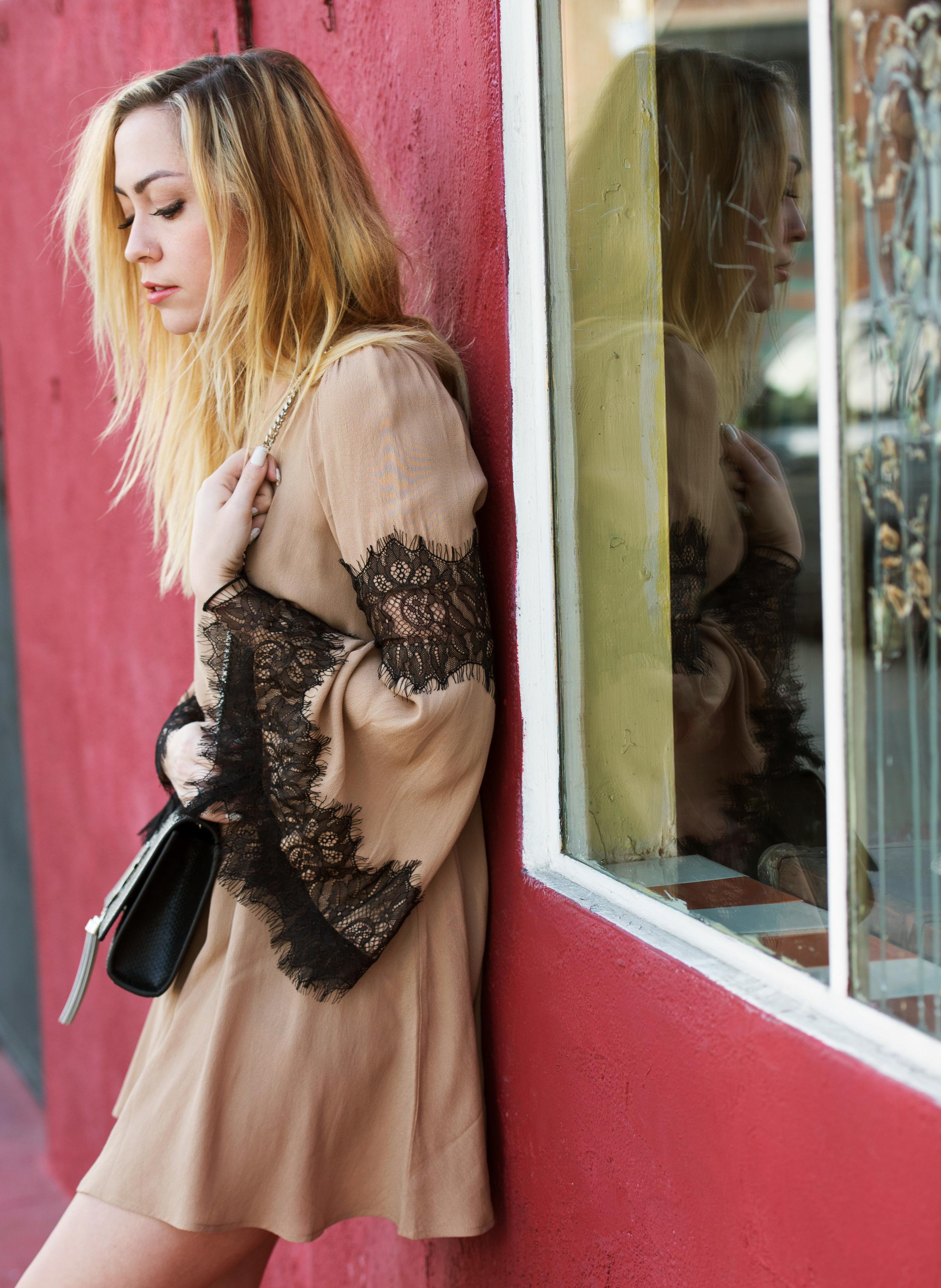 Dress - For Love & Lemons  |  Boots - Modern Vice  | Bag - Saint Laurent |  Choker - Eddie Borgo  || photos by  Piper Rastello