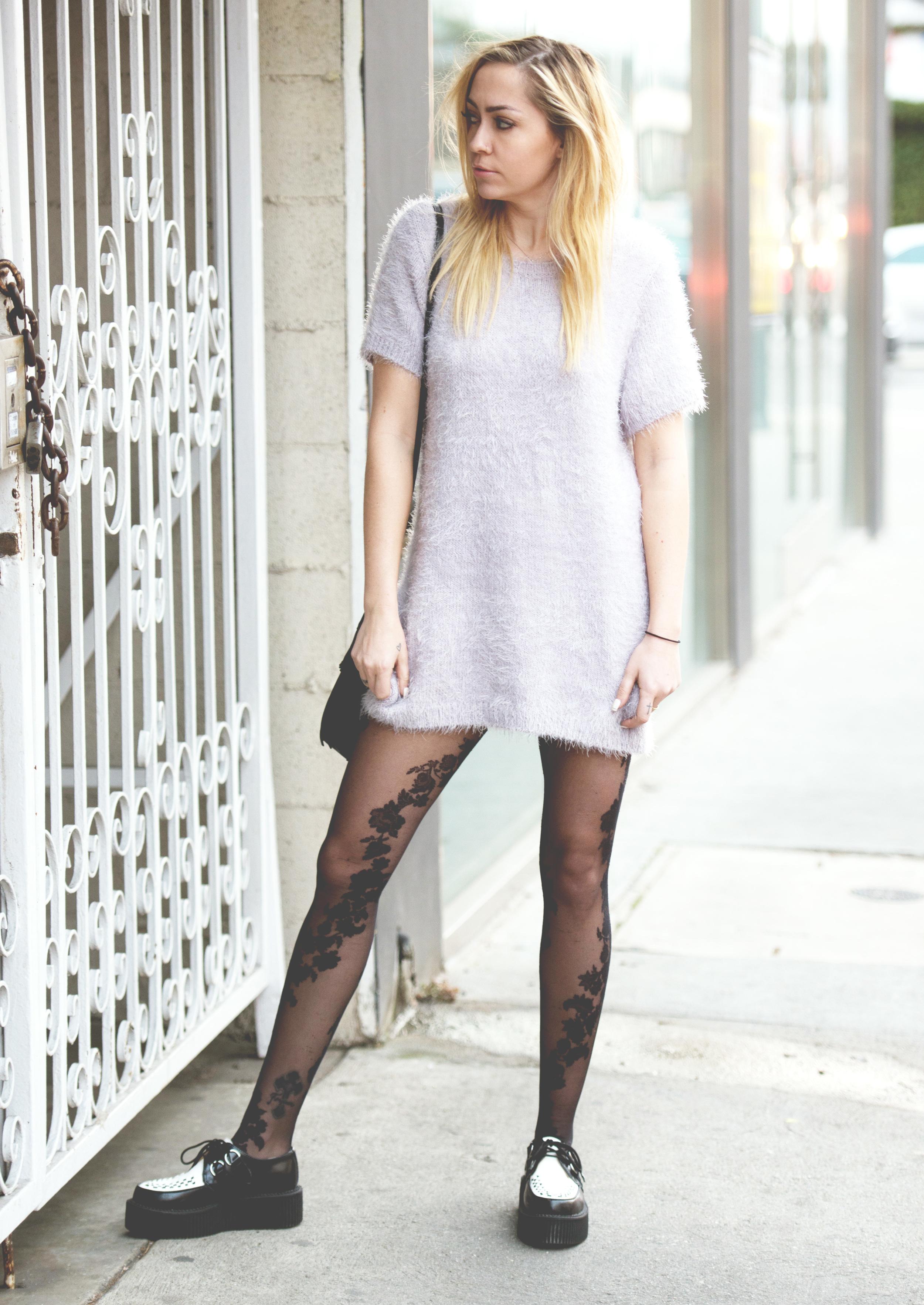 Dress - For Love & Lemons | Tights - |  Shoes - T.U.K.  | Bag - Gerard Darrel || photos by  Piper Rastello
