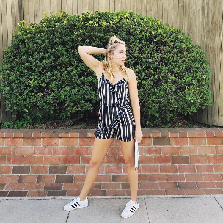 Romper - BCBGeneration | Shoes = Adidas Custom | Jewelry - Frasier Sterling | Clutch - DTLA Custom / Rebecca Minkoff
