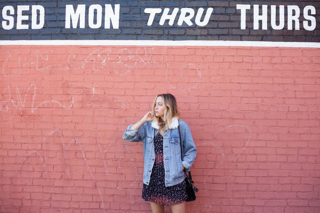 Dress - BCBGeneration | Jacket - Reformation | Shoes - Miista | Bag - Saint Laurent  photos by  Mandy Mooring
