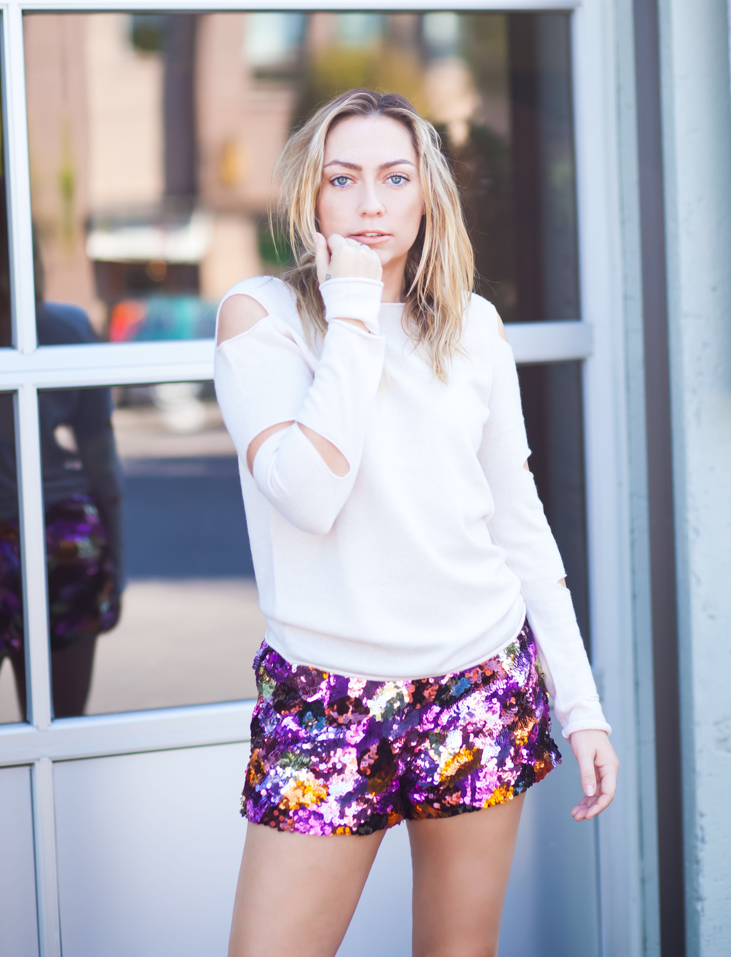 Sweater - Skull Cashmere | Shorts - Valley City | Shoes - Miista ||  photos by Mandy Mooring