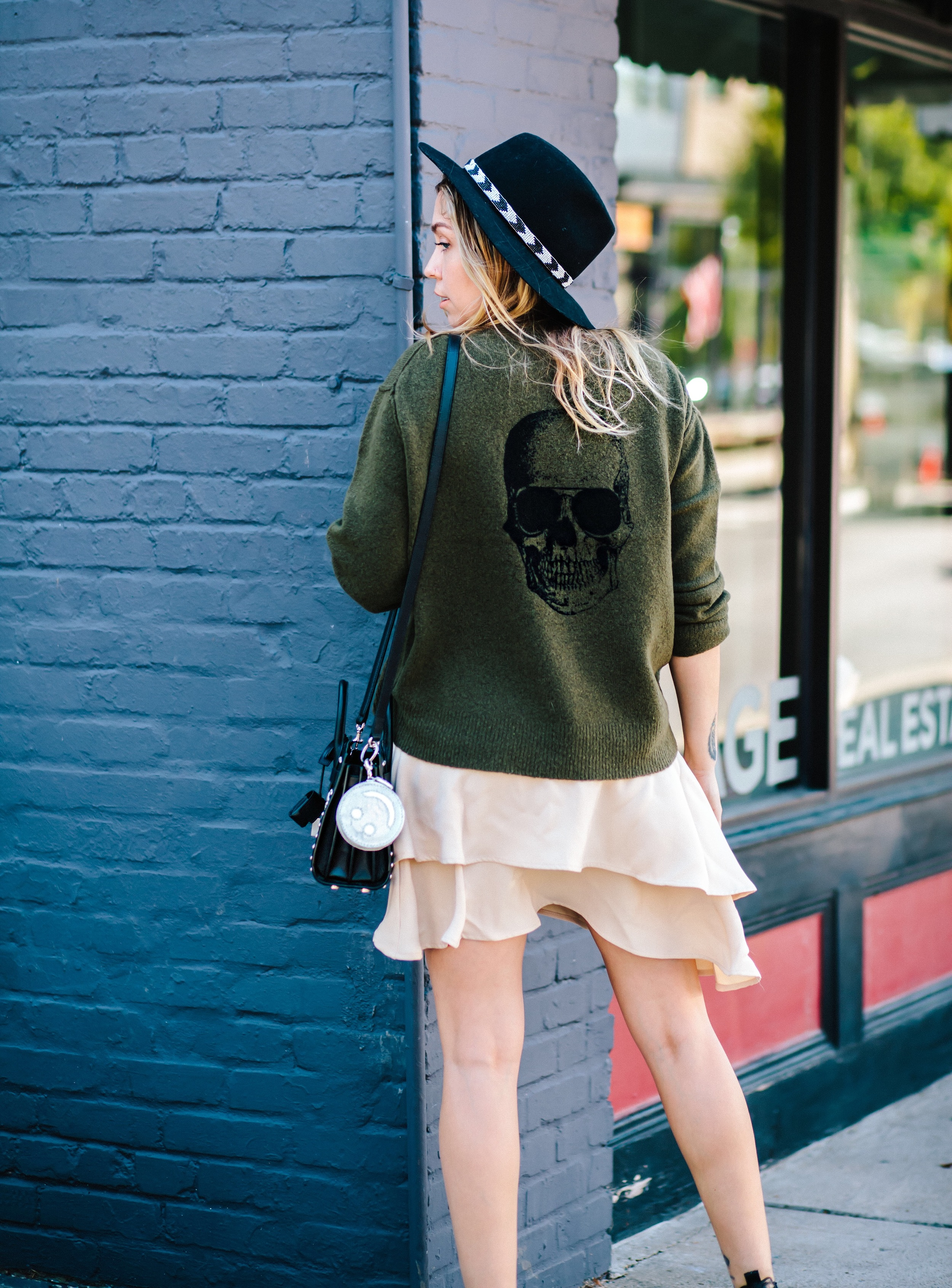 Sweater - Skull Cashmere | Skirt - C/Meo Collective | Boots - Modern Vice | Hat - Lovely Bird | Bag - Saint Laurent   photos by Mandy Mooring