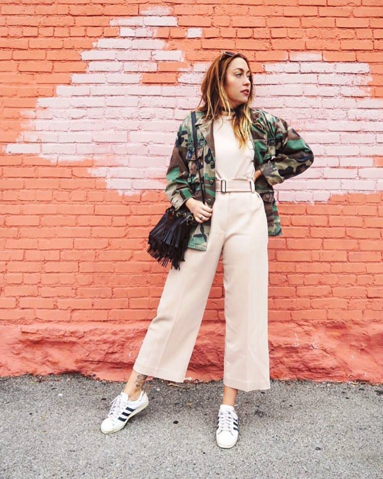 Jacket + T-Shirt - Topshop | Pants - A.L.C. | Shoes - Adidas | Bag - Saint Laurent | Sunnies - Quay || all avail at Nordstrom