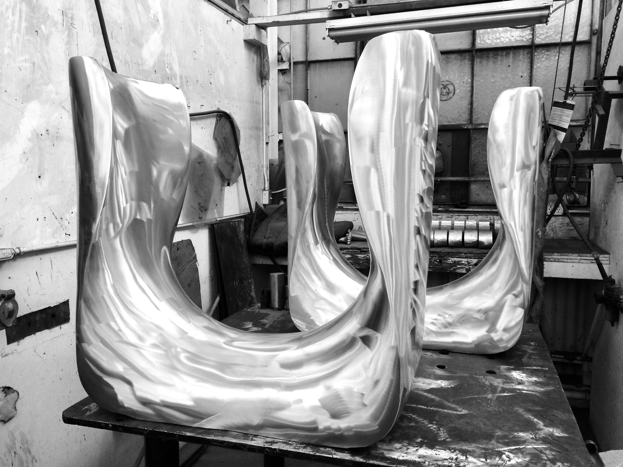 Cast components welded together and ready for polishing.