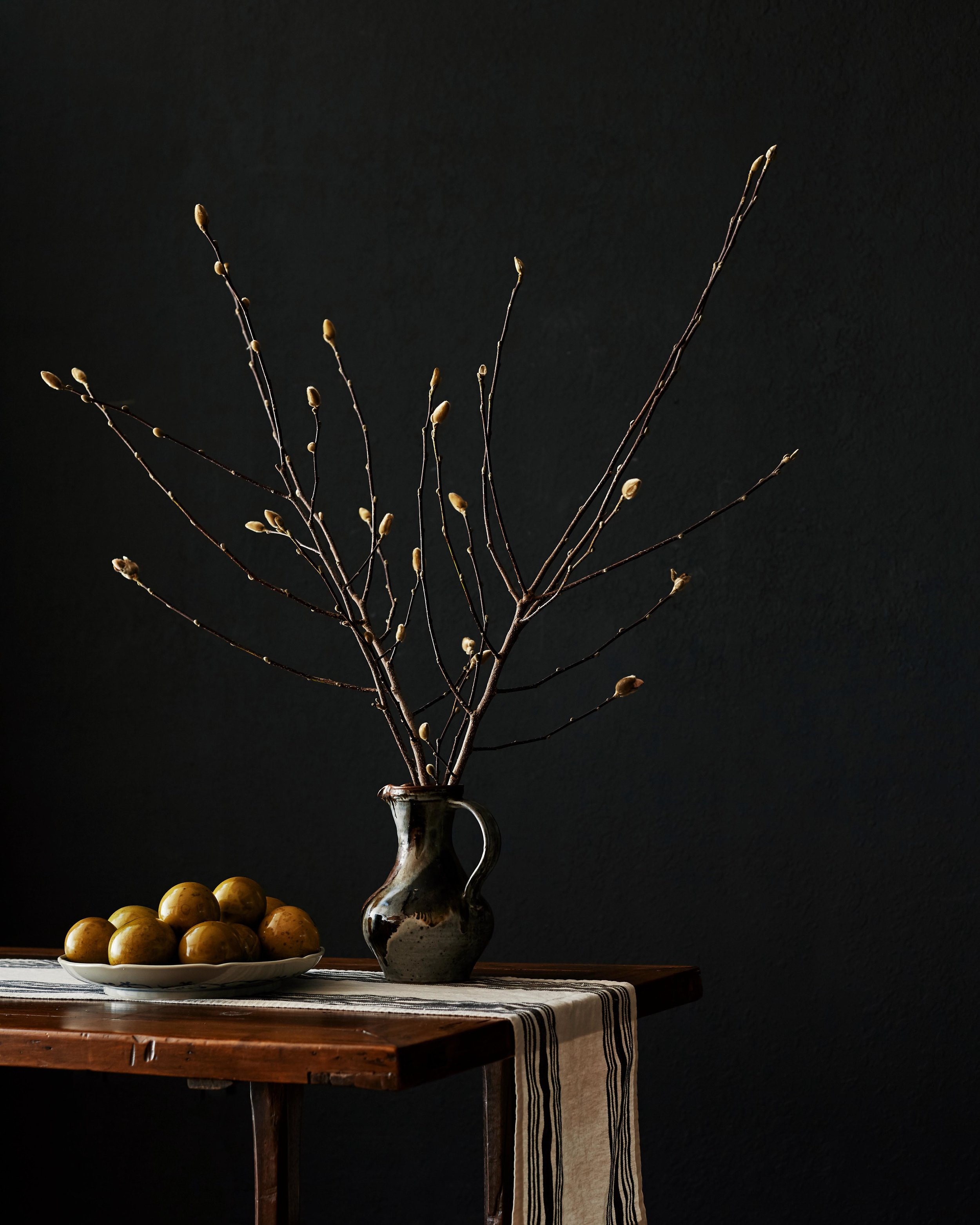 Daniel Villarreal Photography Vase With Branches and Plate of Fruit.jpg