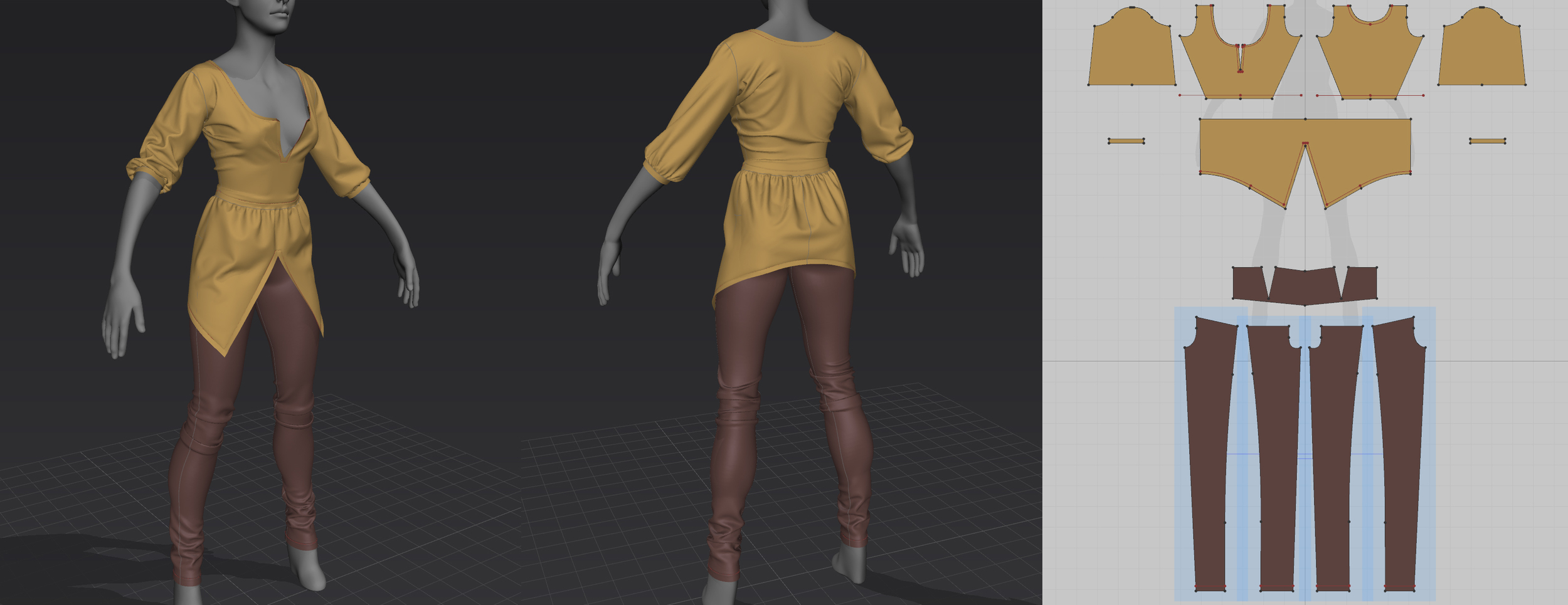 Raw cloth simulation from Marvelous Designer