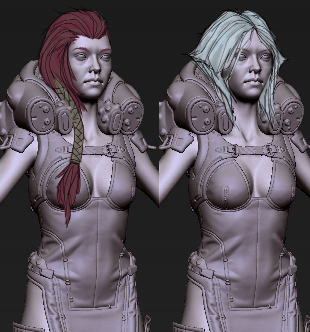 Some exploration of hair variations.