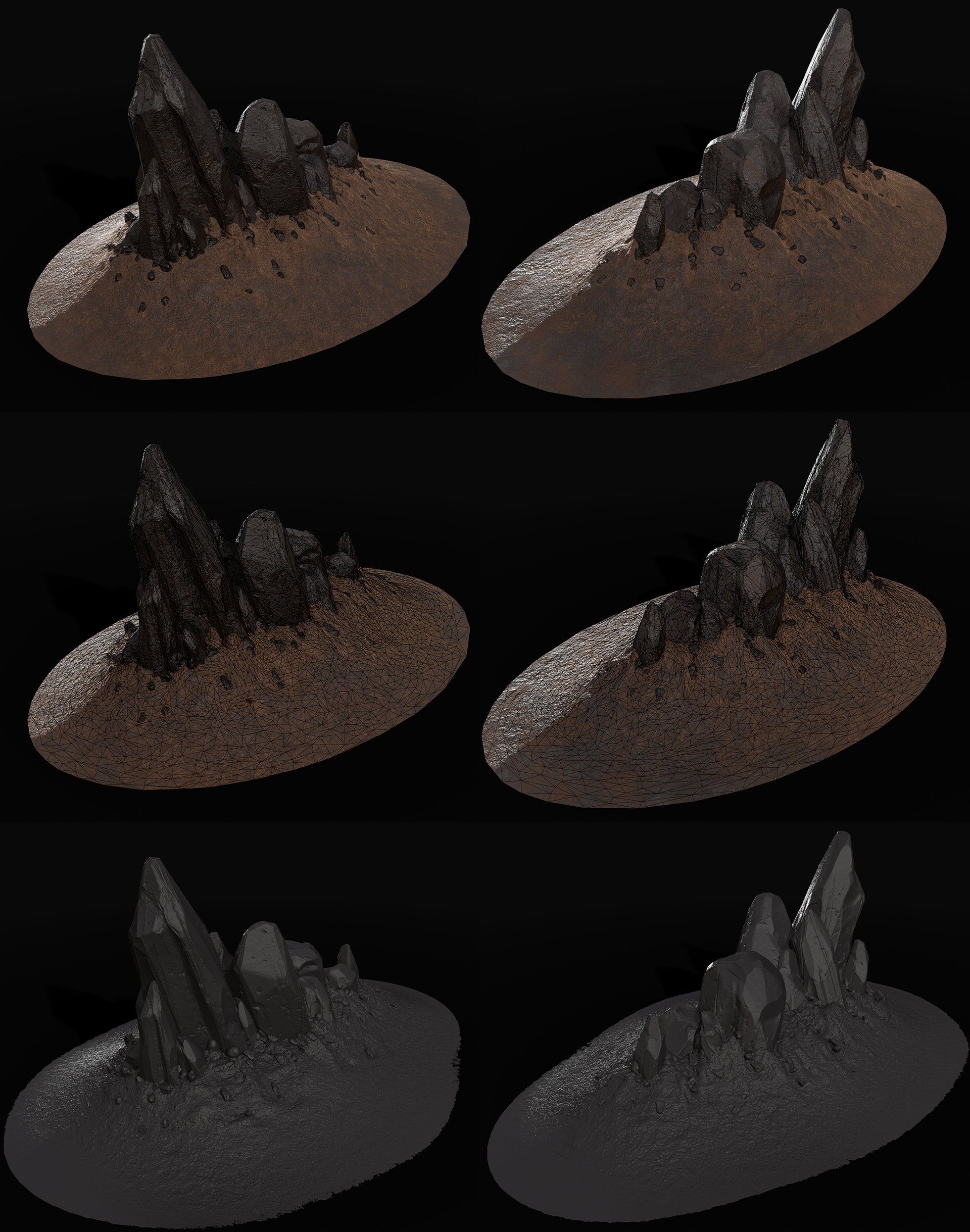 Rock clusters that were used to decorate the scene, texturing done with Substance Designer and Painter, Zbrush for high poly.