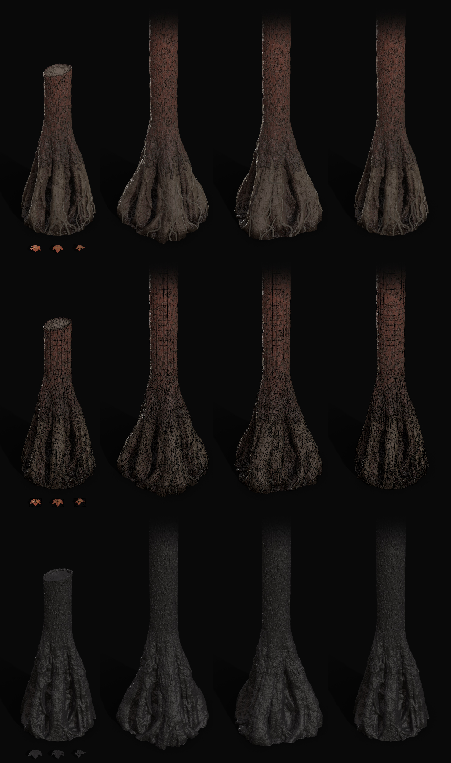Trees were created in a modular fashion, the trunk is shared between each tree while the roots are bespoke. Textured in substance and high poly created in Zbrush.