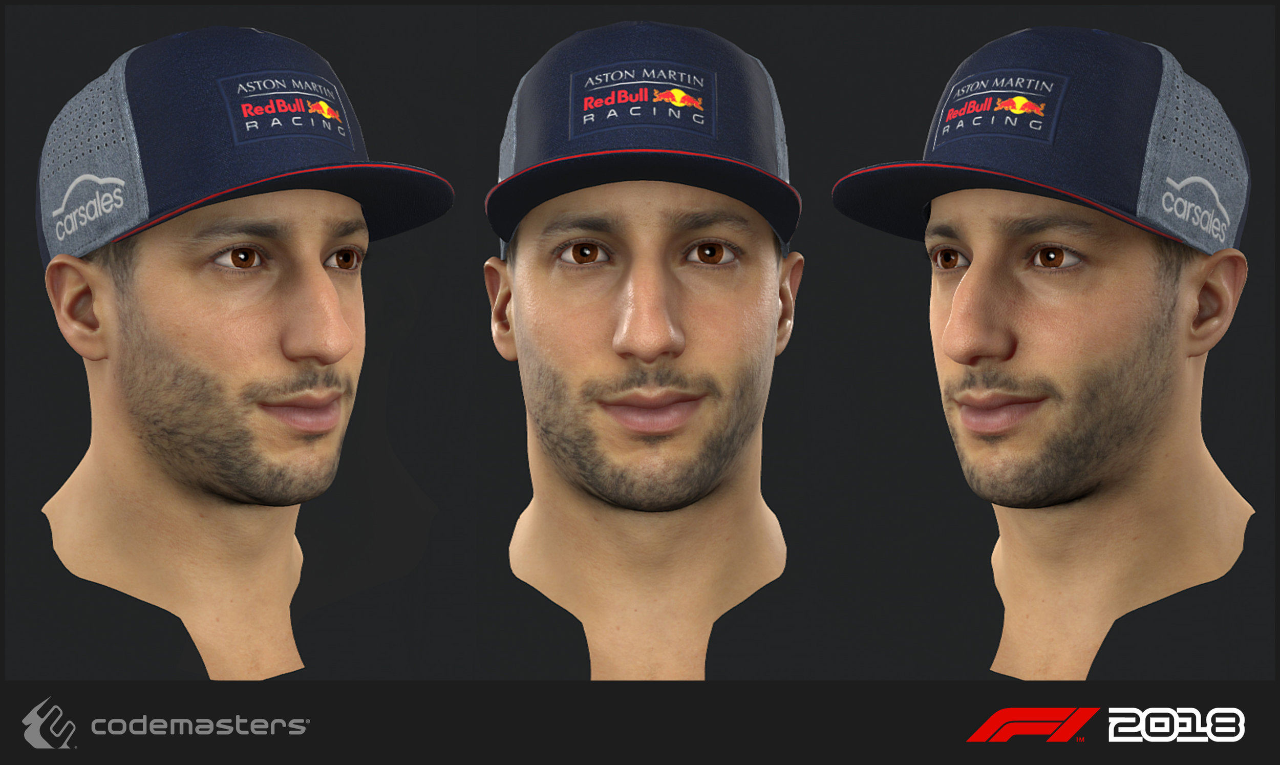 Daniel Ricciardo. Responsibilities: high poly creation, texture creation for the head. My lead Mark Hancock was responsible for a 2018 update pass on the mesh and textures.