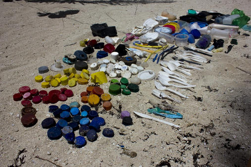 Plastic waste collected on small isolated island off the coast of Belize. Collected all of this in 5 mins in under 10ft.