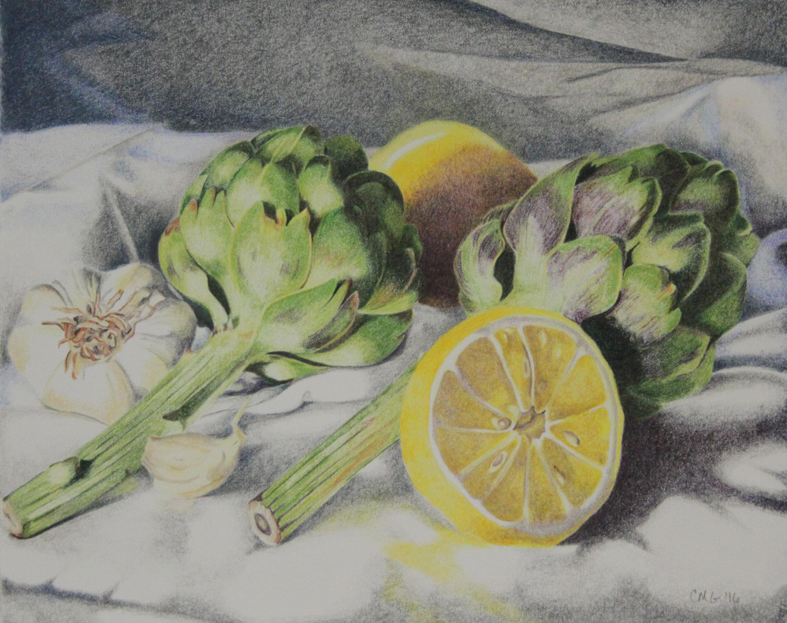 Artichokes & Lemons Still Life