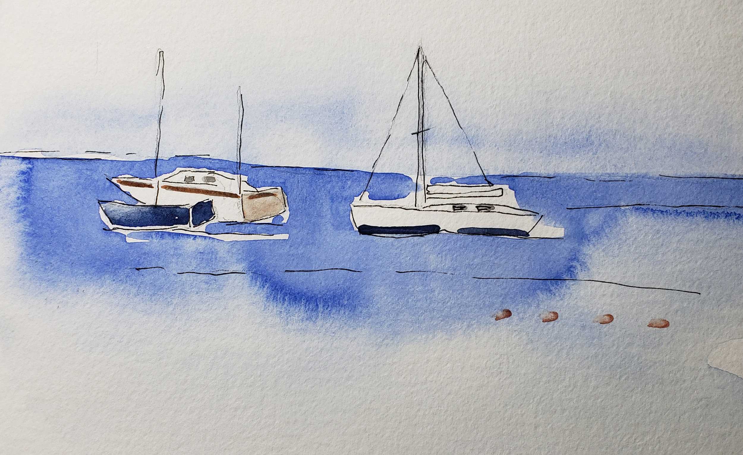 Boats in Capri from my Sketchbook