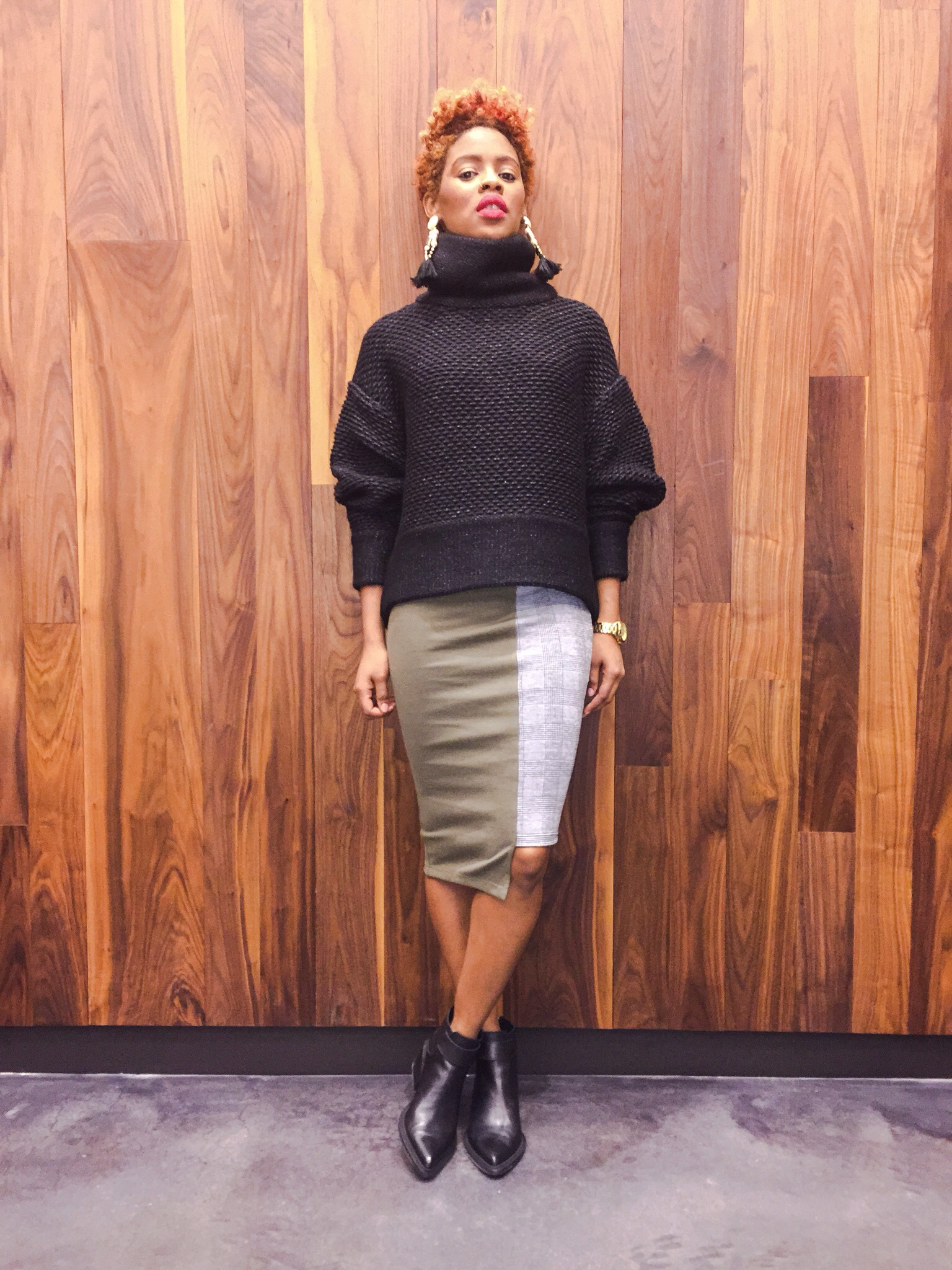 Something By Sonjia skirt, Helmut Lang Sweater and shoes, Michael Kors watch, H&M earrings and Sephora lipstick.