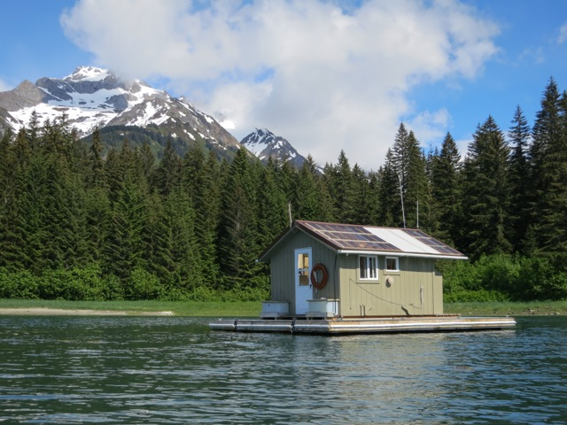 I was fortunate to serve as Glacier Bay National Park's first-ever Artist-in-Residence. They allowed me to stay for five days on this secluded floating cabin, from which I was able to explore the bay by kayak.