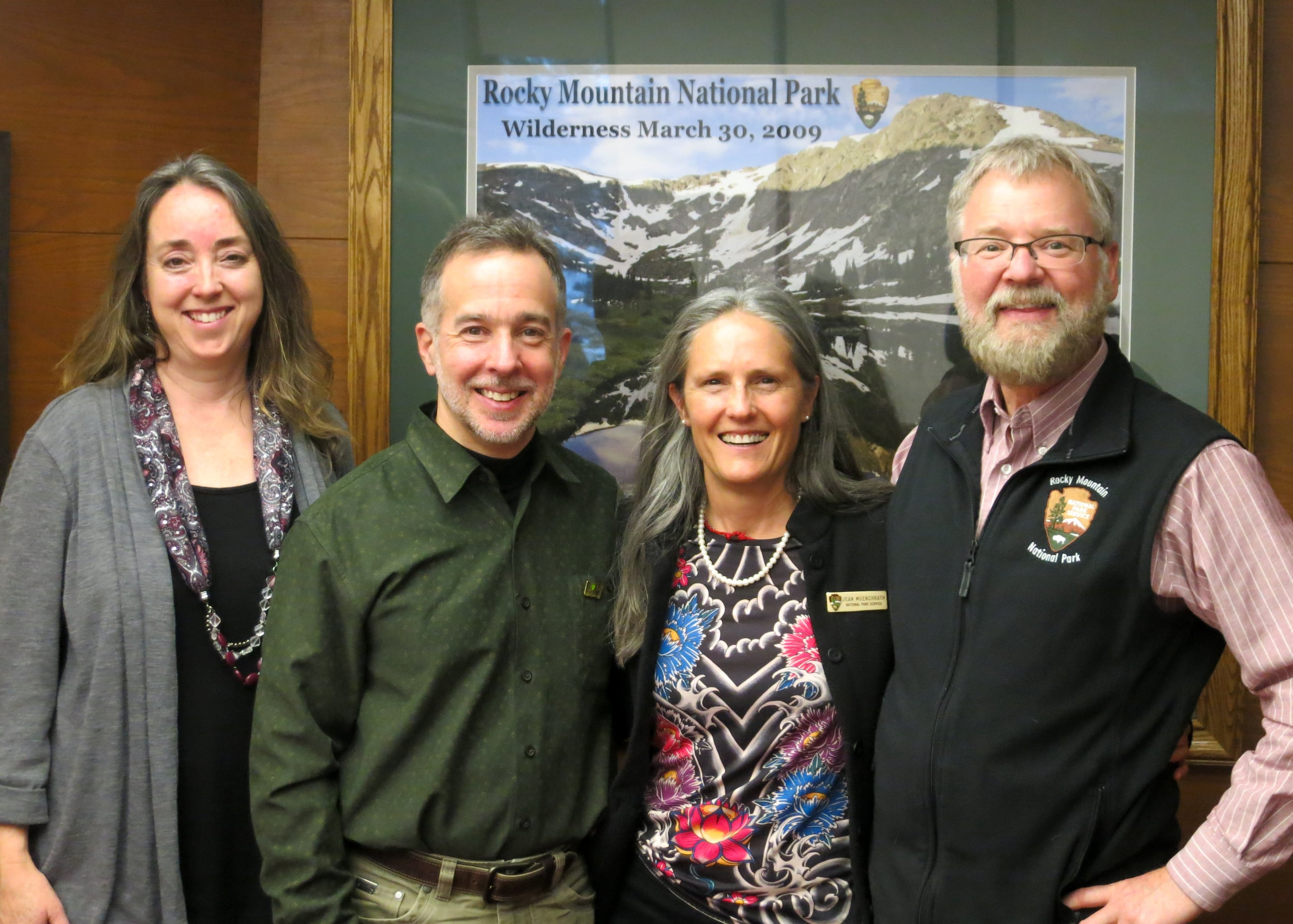 (from L to R) Cynthia Sliker (Boulder Philharmonic), Stephen Lias (composer), Jean Muenchrath (Artist-in-Residence Coordinator), Rich Fedorchak (Chief of Interpretation, Rocky Mountain National Park)