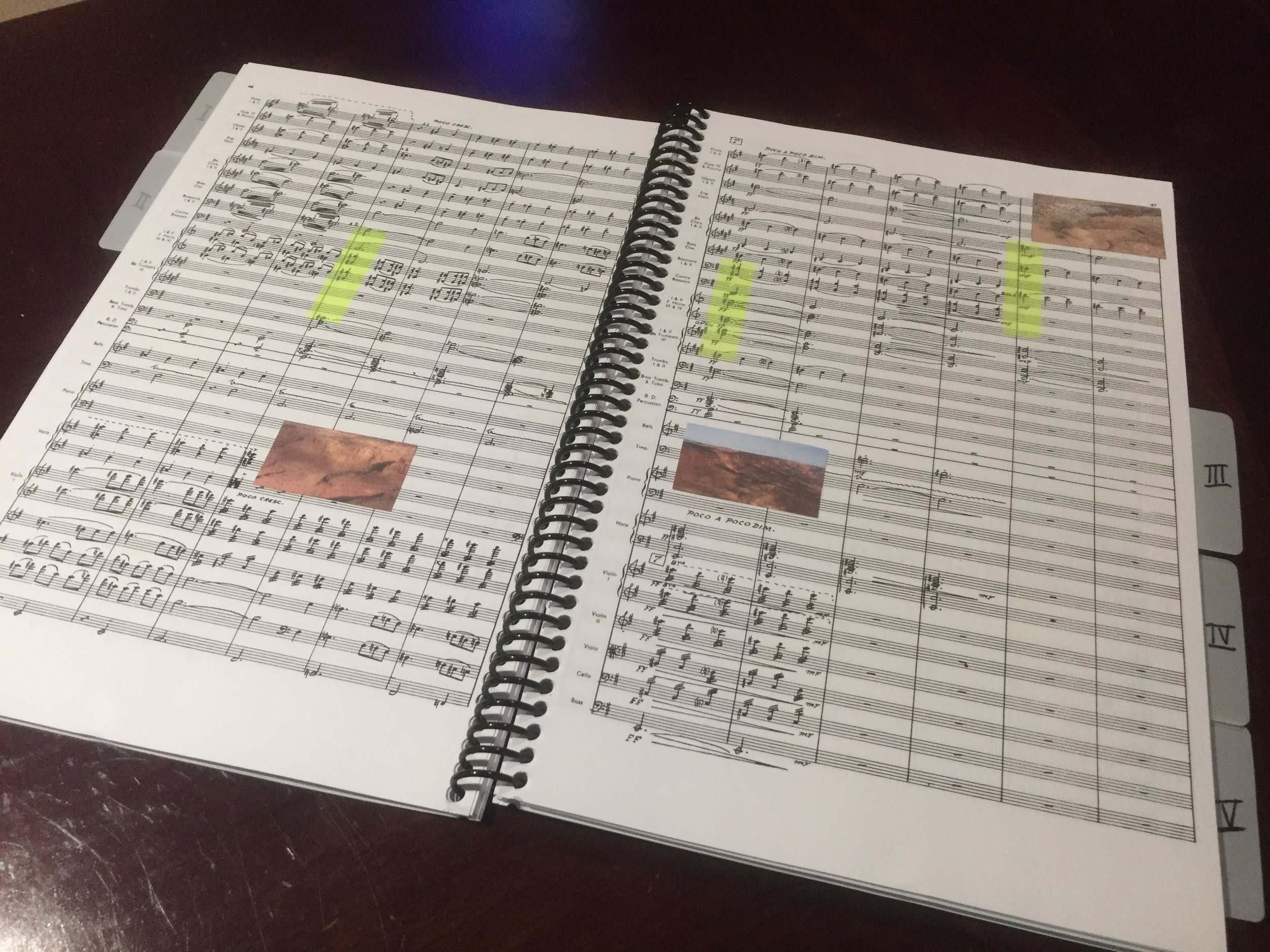 The rental materials include a carefully marked miniature score for the operator to use during performance.