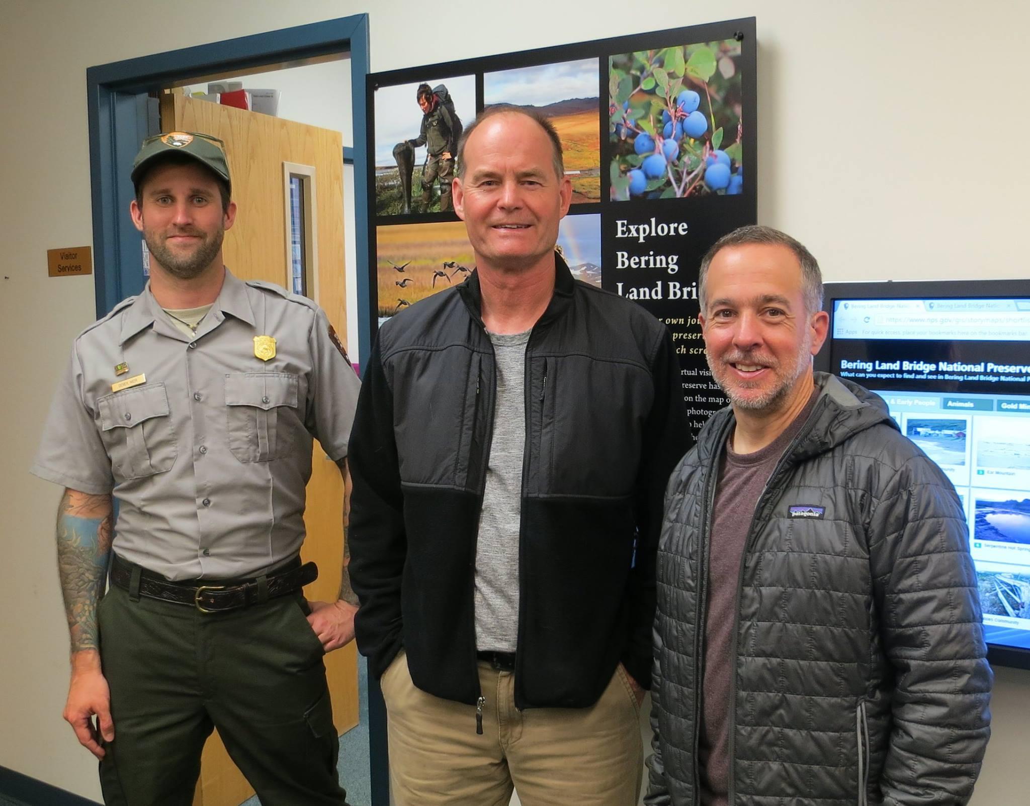 Derek Weir (NPS Ranger), Ron Horner (Band Director in Nome, AK) and Stephen Lias (Composer)