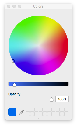 #1E70E7 in Adobe 1998 shown in a device independent color wheel