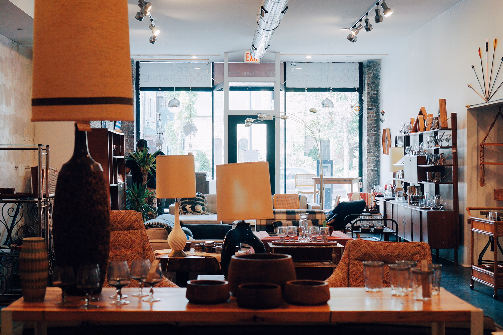 Modern Cooperative. Gorgeous midcentury modern furniture, glassware, home decor and such.Mostly reasonably priced. Deals in the basement.