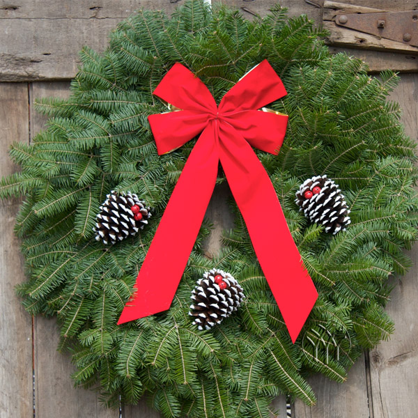 The generous gold backed velveteen bow and white tipped/glittered pine cones laced with cheery red jingle bells for these Classic Holiday Decorations have made them a Holiday Tradition for generations!   SOLD OUT