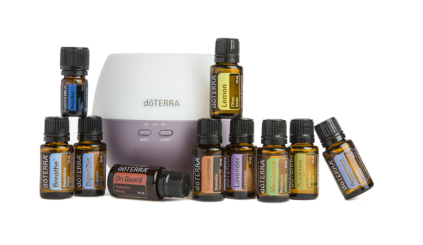 doTERRA Home Essentials Kit  (item #41180001)  My favorite kit! It includes Frankincense, Lavender, Lemon, Melaleuca, Oregano, Peppermint, On Guard, Breathe, DigestZen and Deep Blue! Petal diffuser also included so you can get started using them right away!  Wholesale: $291.59 Retail: $388.67