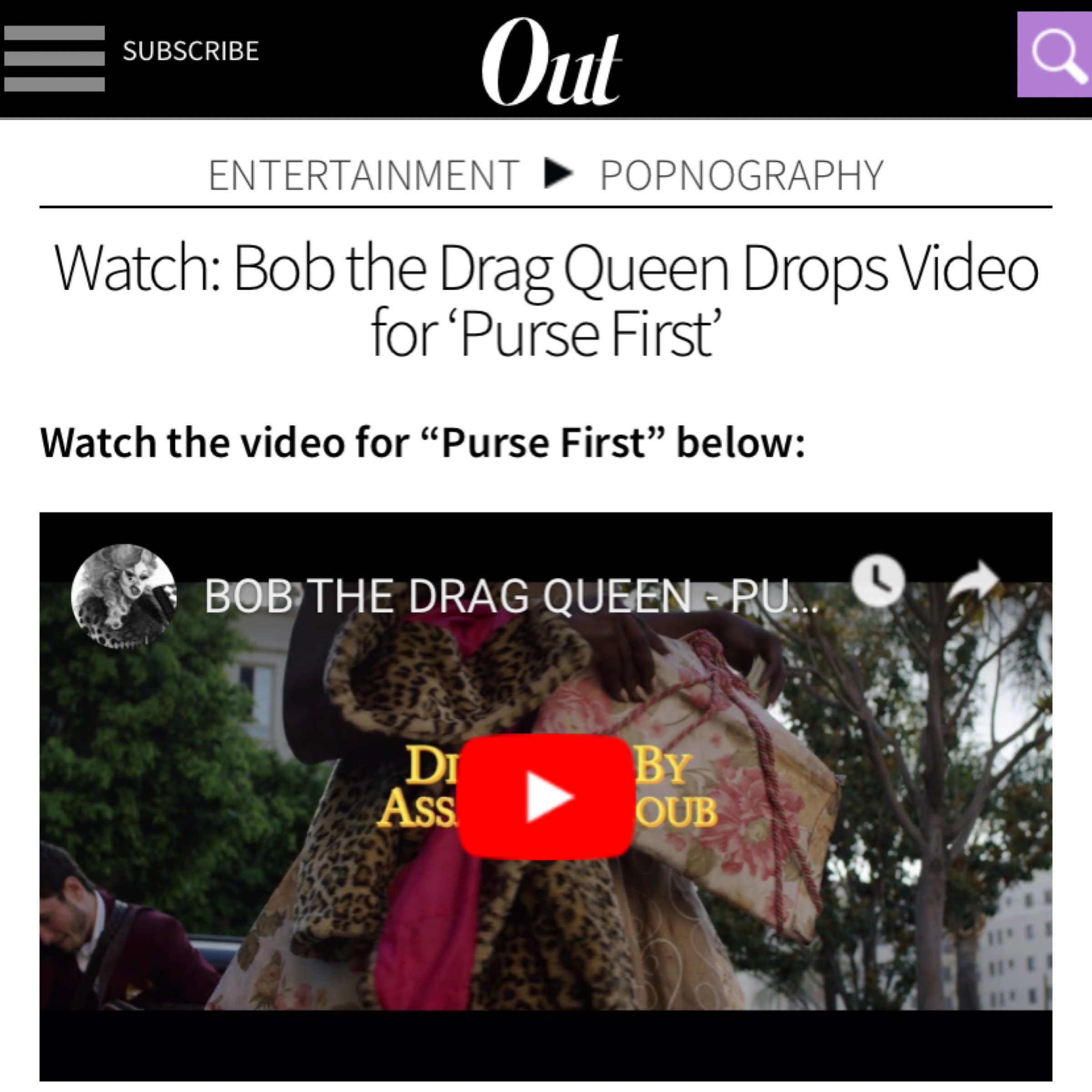 OUT MAGAZINE - BOB THE DRAG QUEEN (PURSE FIRST)