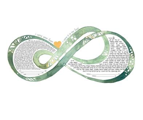 Double Infinity i carry your heart Ketubah Moss