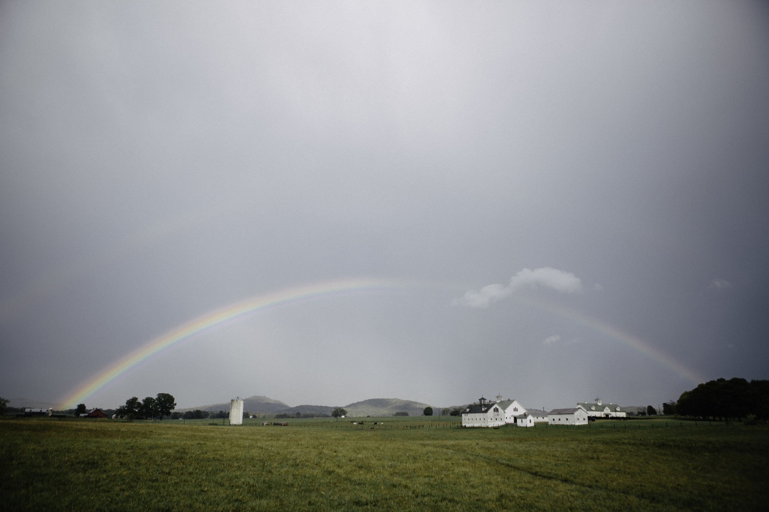 Rainbows appeared after a brief but much needed rain. Much of West Virginia is a drought.