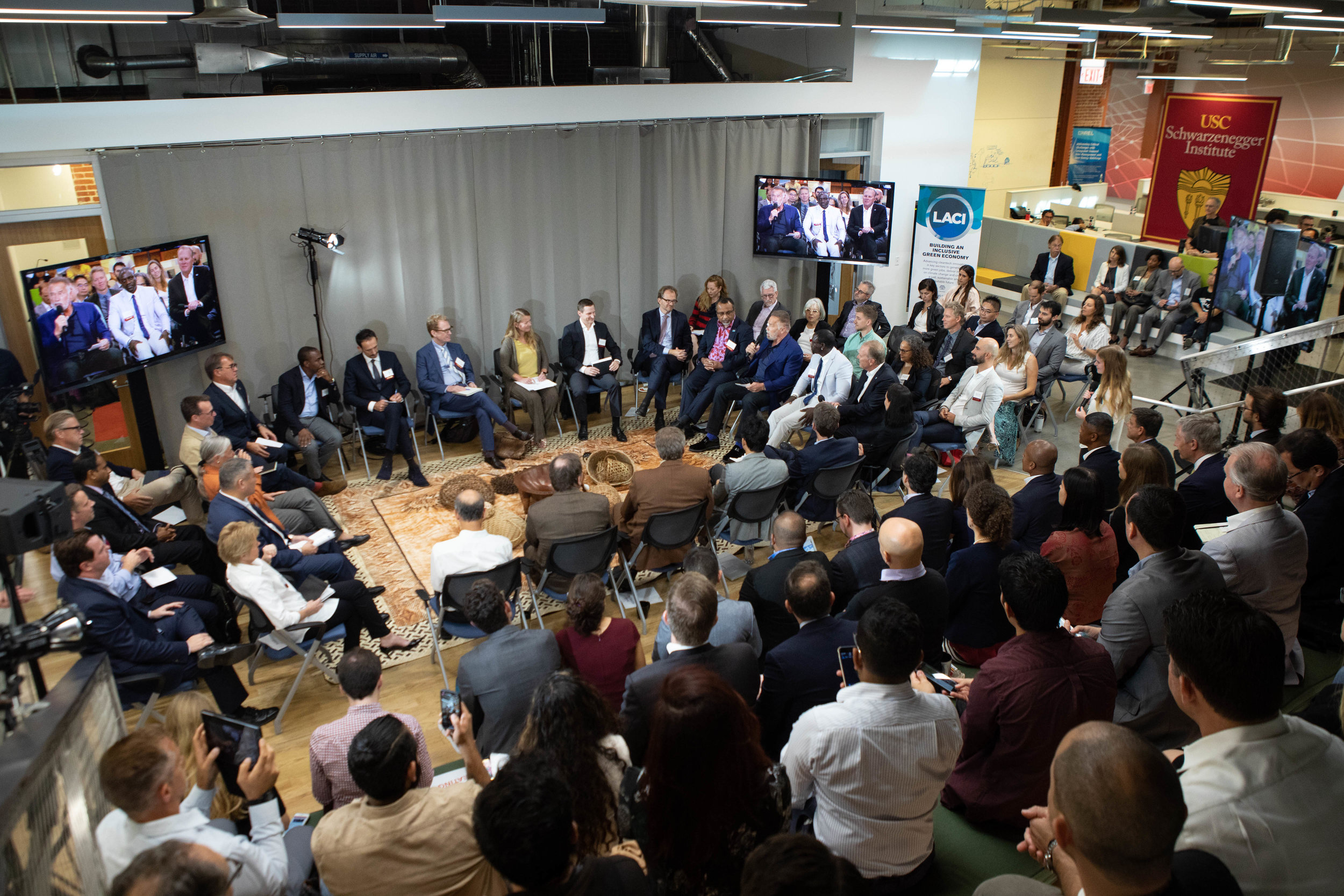 Former California Governor Arnold Schwarzenegger, with the support of Fijian Prime Minister and COP23 President Frank Bainimarama, convened a Talanoa Dialogue at the Los Angeles Cleantech Incubator to explore opportunities and best practices for climate-smart investments at the city and sub-national level that could terminate the root causes of climate change.