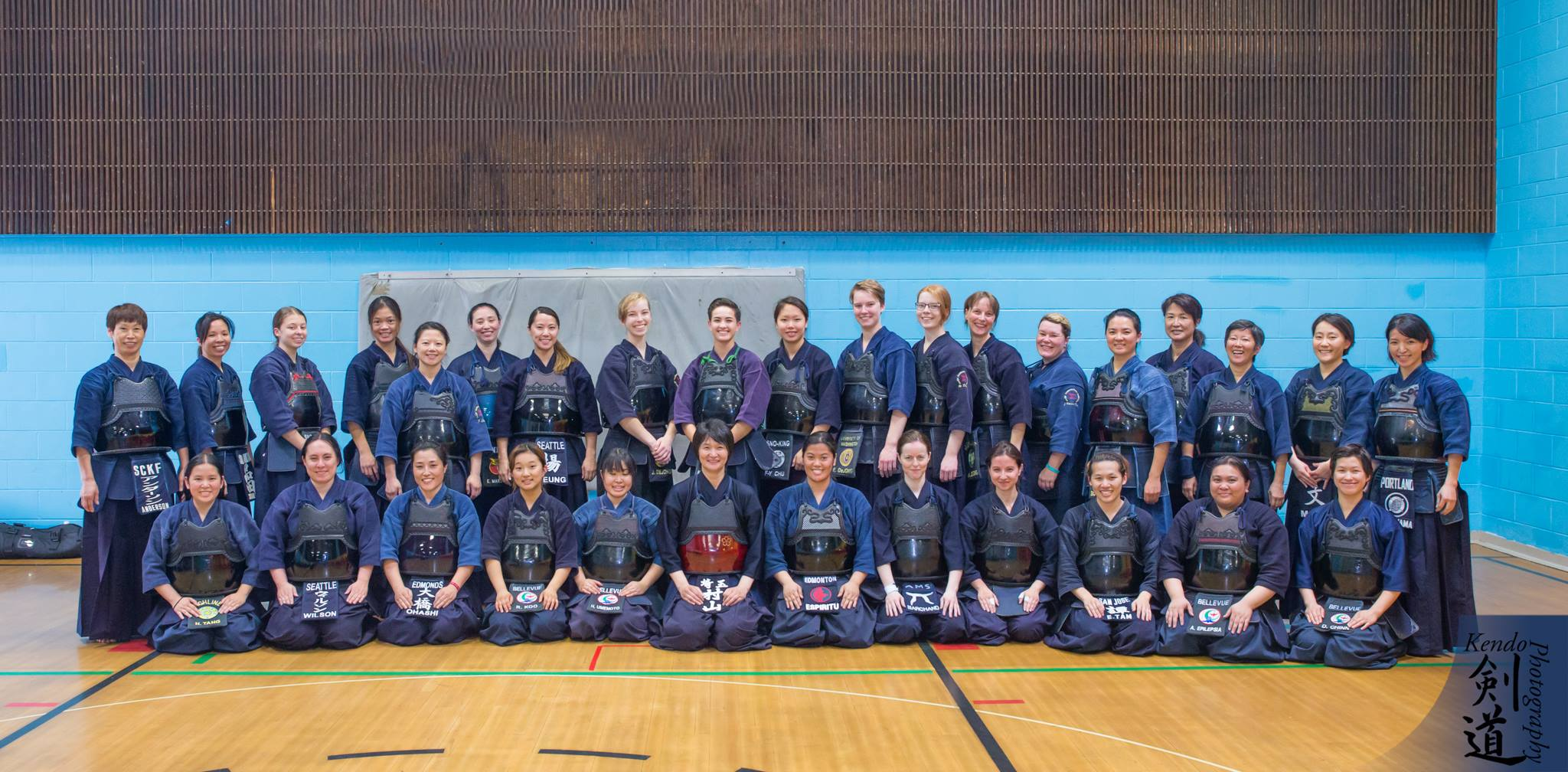 Before the Women's Tournament, there was a week-long seminar taught by Chinatsu Murayama sensei. These are the seminar participants on Day 2.  Photo by event photographer Kendo Photography (Seattle).