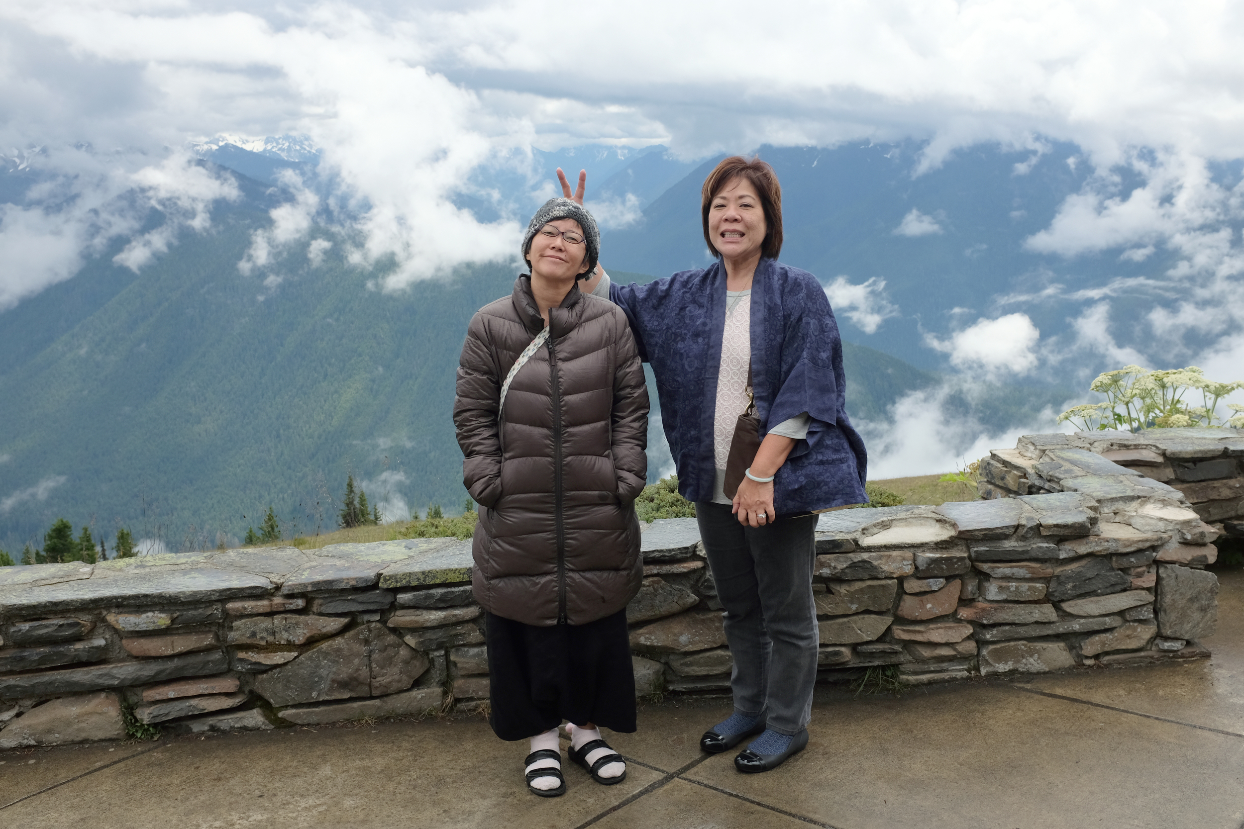 Reiko & Gayle at the Hurricane Ridge lookout, Olympic National Park.  Photo by Shishido.