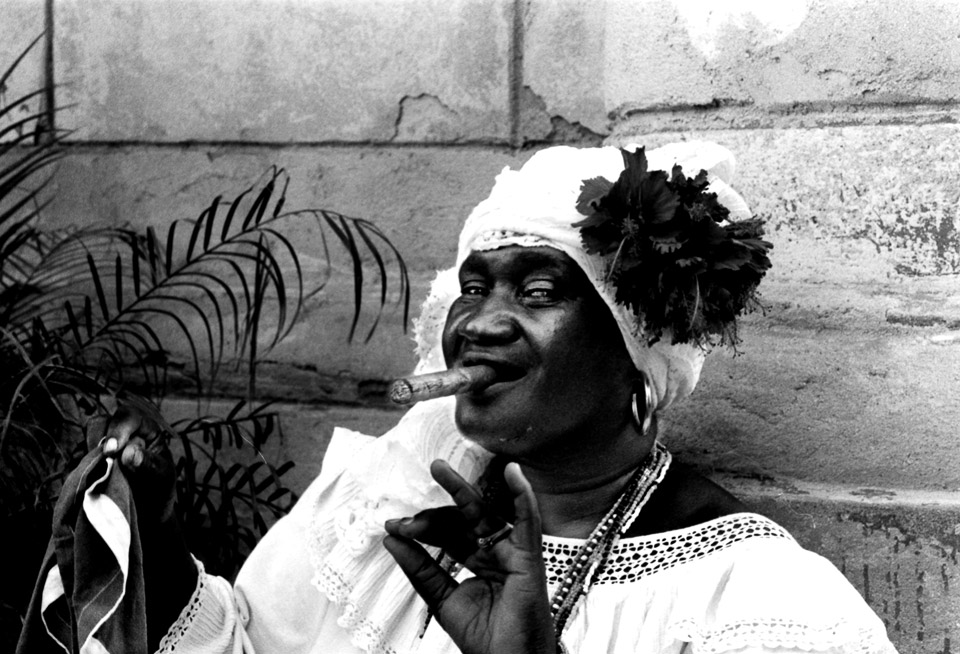 santera in the streets of havanna , cuba 1999