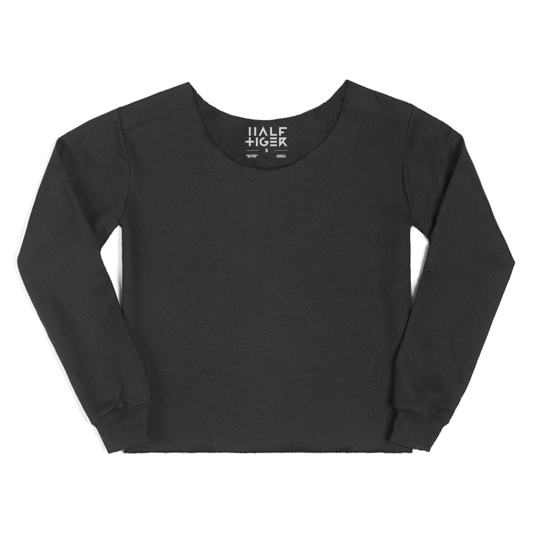Half Tiger Cut & Croppped Crew Neck Sweater  This oversized women's sweatshirt has been hand cut for a unique, relaxed look. The raw edge finish along the neckline and cropped hem adds even more character to this new look on a trusted staple.   Available in Navy, Black, and Heather Grey.