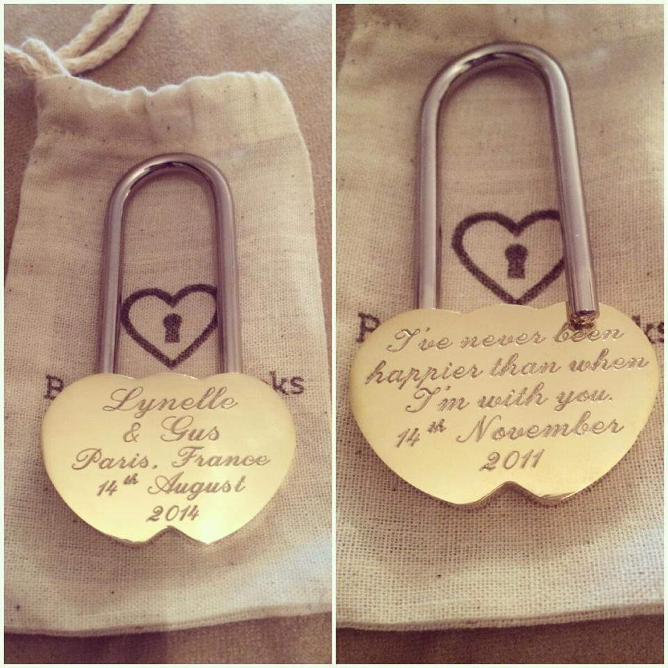 "Lynelle writes: "" Thank you so much for this beautiful padlock, we are so happy with it and how quickly we received it   thanks again :)"""