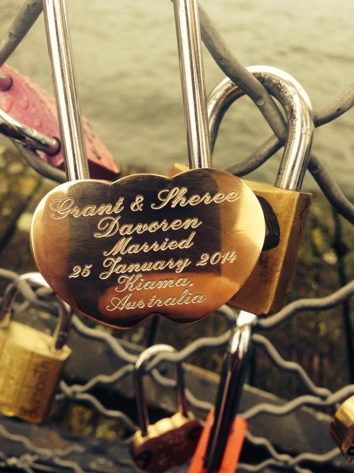 "Sheree writes from France: "" Locked onto the Paris Lovelocks bridge. Thankyou Beloved Padlocks!!"""
