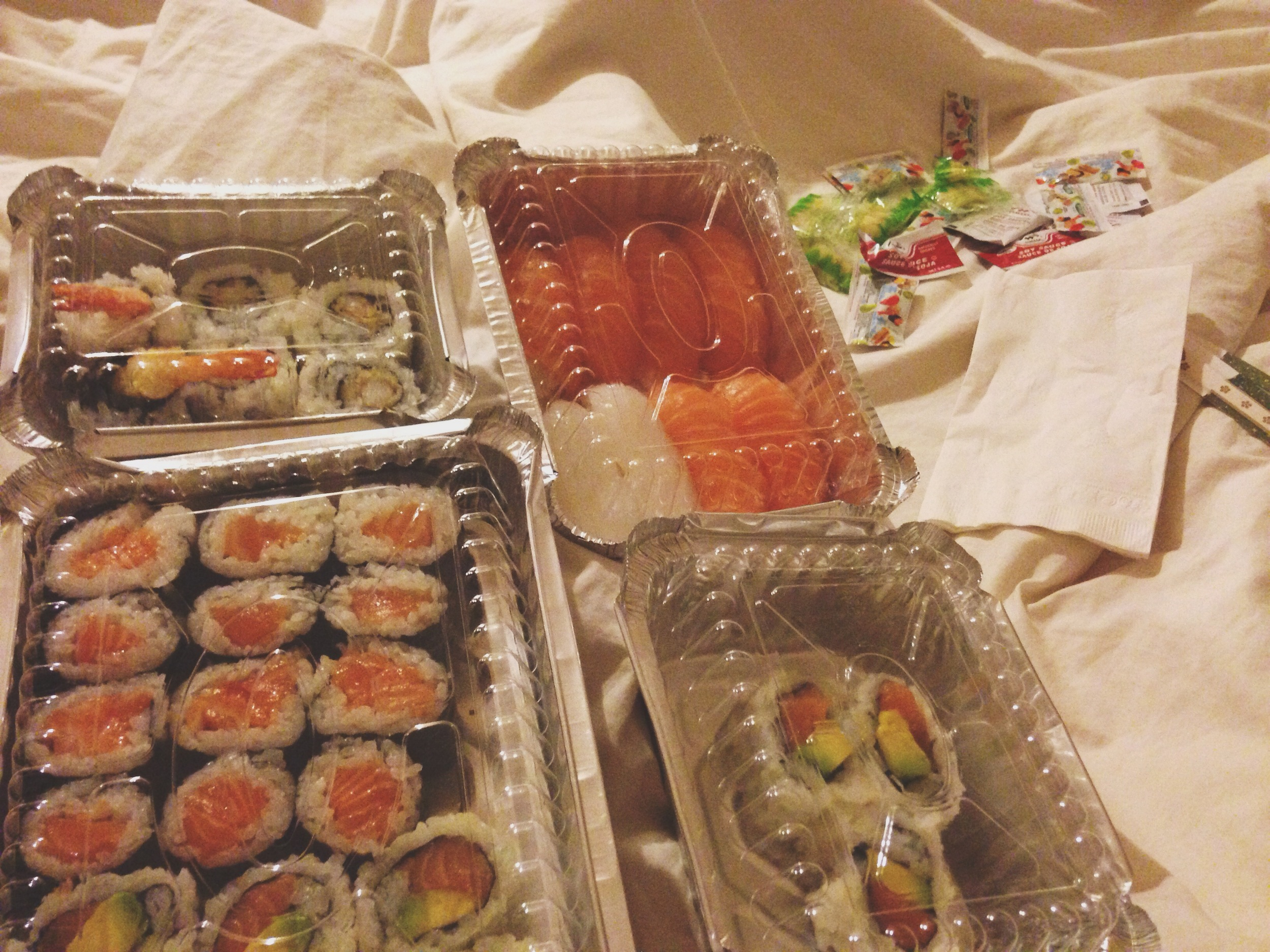 Wednesday was an incredibly long day but my sweet sweet husband brought me home my favorite. Yes, you guessed it. Sushi. And of course I ate it all in bed.