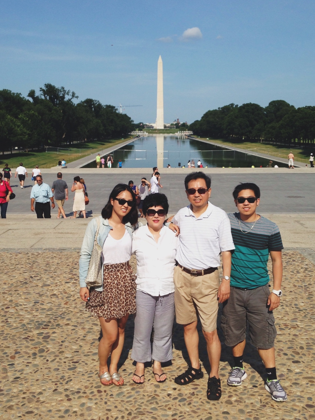 In front of the Washington Monument and Reflecting Pool
