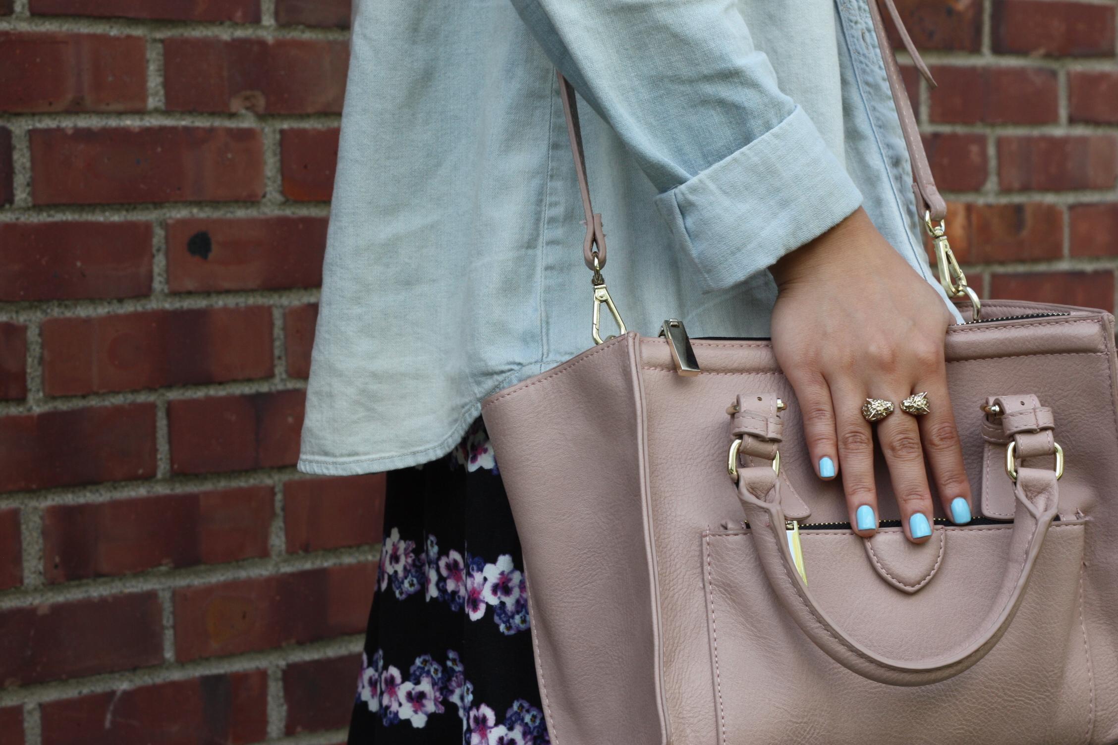 Bag: Zara, Ring: H&M, Nails: Sally Hansen Insta-Dri Blue-Away