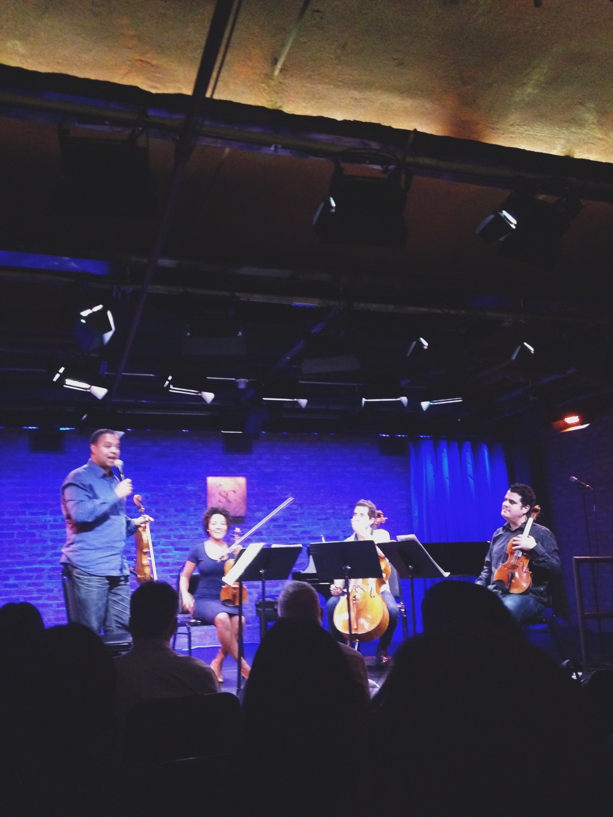 Our friend, Ilmar introducing his group  The Harlem Quartet  at their new album release.