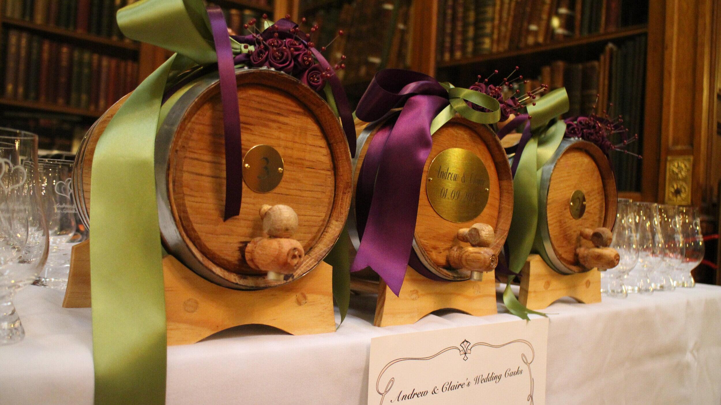Designer whisky casks for weddings