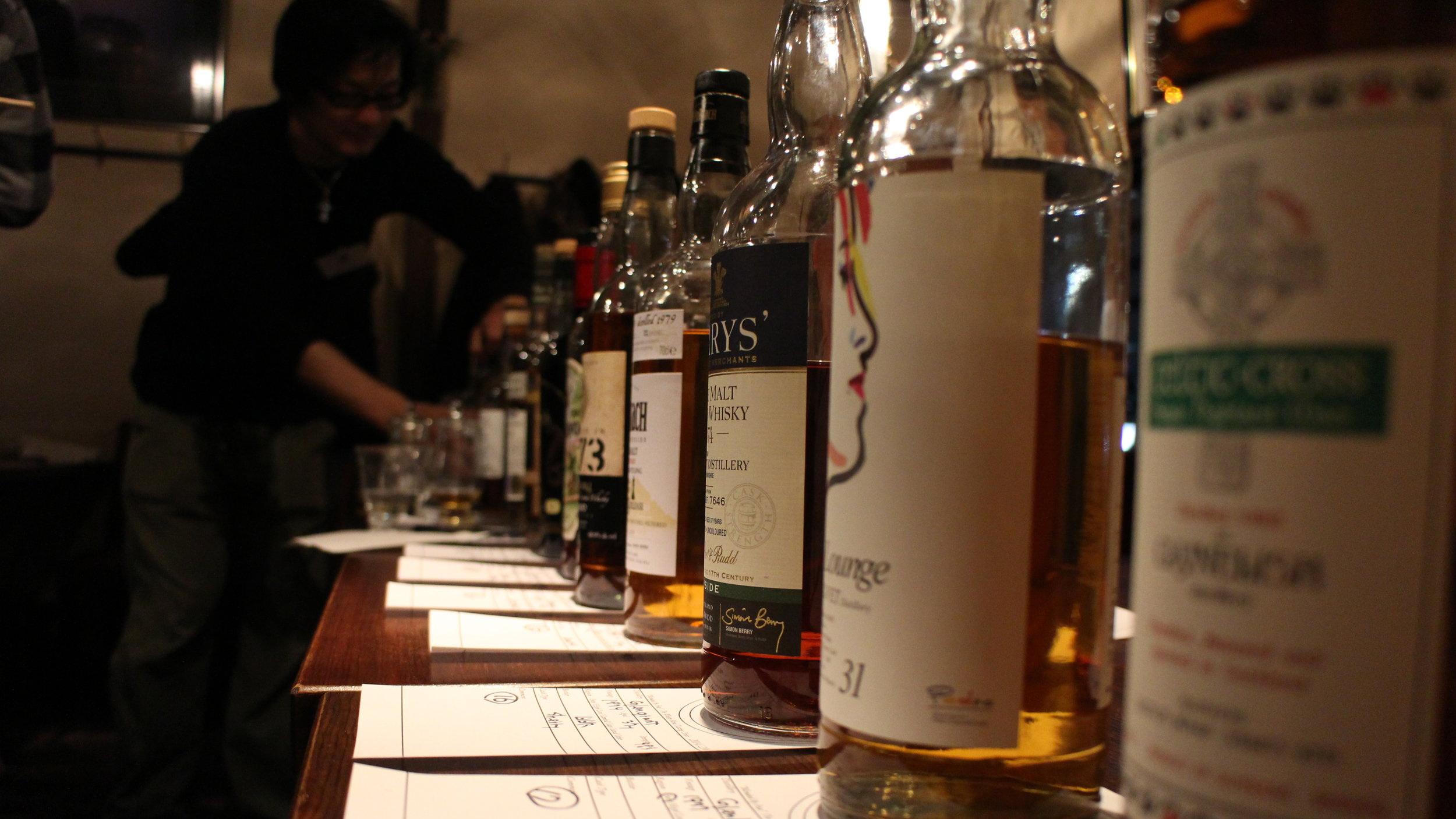 Bottles of Whisky for a tasting